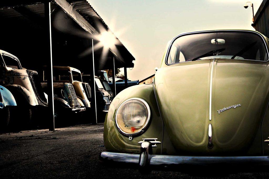 67 vw beetle in a barn