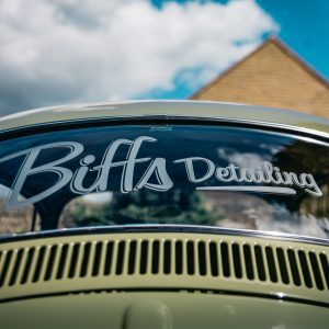 Biffs Detailing Sign On Back Windscreen Of Vw 67 Beetle